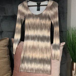 BEBE cream/tan multicolored mini bodycon dress